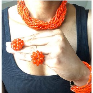 Hand Beaded Necklace Bracelet and Earring Set